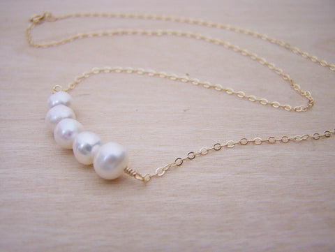 Dainty Genuine Freshwater Pearl 14k Gold Filled Bar Necklace