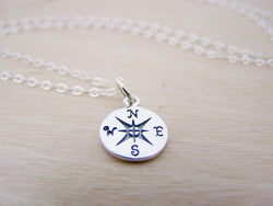 Lost Without You Compass Tiny Sterling Silver Necklace