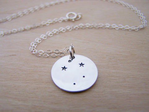 Dainty Sterling Silver Zodiac Libra Constellation Necklace / Gift for Her