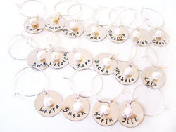 Hand Stamped Freshwater Pearl Wine Charms