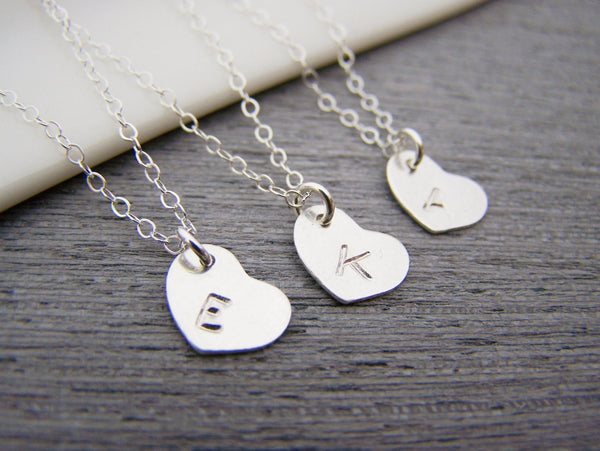 Sterling Silver Tiny Heart Hand Stamped Initial Personalized Bridesmaid Necklace / Gift for Her