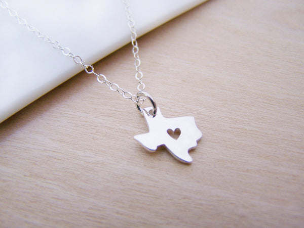 Tiny Heart Texas State Sterling Silver Necklace / Gift for Her