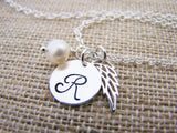 Angel Wing Necklace - Memory Necklace - Sympathy Gift - Memorial Jewelry - Freshwater Pearl Necklace