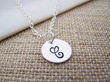 ONE INITIAL Disc Dainty Silver Hand Stamped Initial Personalized Bridesmaid Necklace