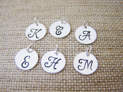 Add a Hand Stamped Silver Initial Charm / Script Font / Alphabet Intial Disc