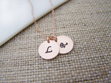TWO INITIAL Disc Dainty Rose Gold Hand Stamped Initial Personalized Bridesmaid Necklace