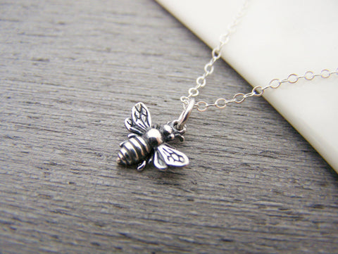 3D Bumblebee Tiny 925 Sterling Silver Honey Bee Necklace