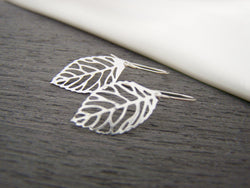 Leaf Charm Sterling Silver Earrings