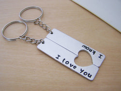 I Love You I Know Half Heart Key Couples Chain Set