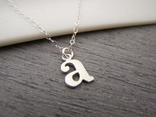 Typewriter Initial A Tiny Sterling Silver Necklace / Gift for Her