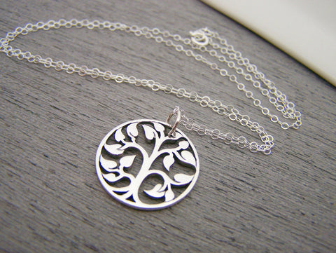 Tree of Life Cut Out Charm Sterling Silver Necklace Simple Jewelry / Gift for Her