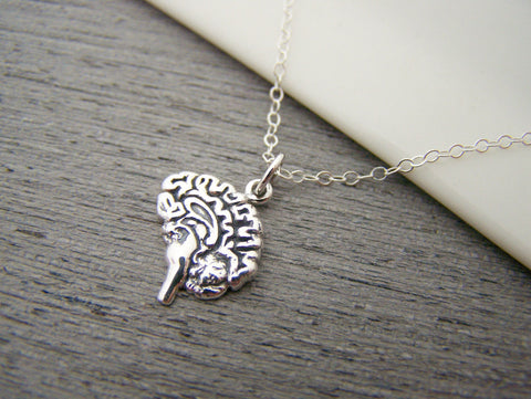 Anatomical Brain Charm Sterling Silver Necklace Simple Jewelry / Gift for Her