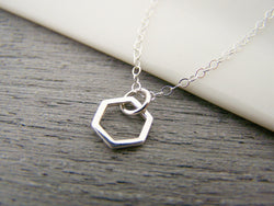 Tiny Single Honeycomb Hexagon Geometric Charm Sterling Silver Necklace Simple Jewelry / Gift for Her