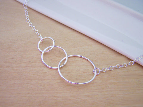 Dainty Triple Infinity Circle Link Sterling Silver Necklace / Gift for Her / Simple Jewelry / Everyday Necklace