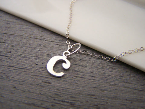 Typewriter Initial C Lowercase Tiny Sterling Silver Necklace / Gift for Her