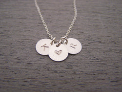 Two Initial Three Disc Heart Hand Stamped Personalized Sterling SIlver Necklace