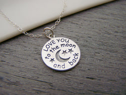 I Love You To The Moon and Back Circle Disc Dainty Sterling Silver Necklace / Gift for Her