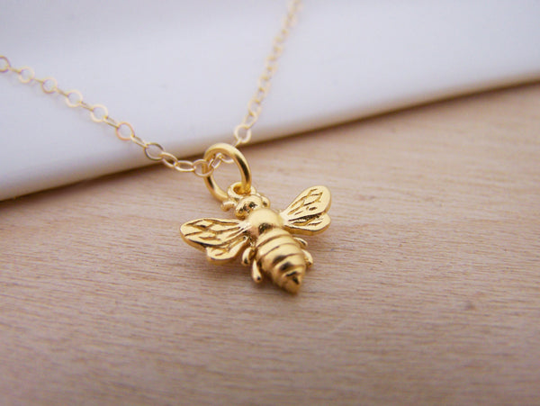 14k Gold Filled Bumblebee Charm Necklace - Honey Bee Minimalist Jewelry