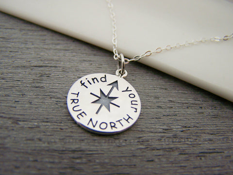 Find Your True North Compass Charm Sterling Silver Necklace Simple Jewelry / Gift for Her
