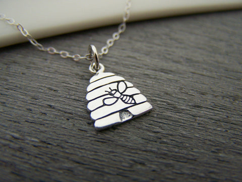 Beehive Tiny Sterling Silver Bee Necklace Simple Jewelry Everyday Necklace / Gift for Her