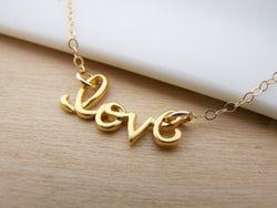 Love Script Charm 14k Gold Filled Necklace
