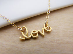 Love Script Charm Yellow Gold Filled Necklace Simple Jewelry - Gift for Her - Dainty Necklace - Everyday Necklace