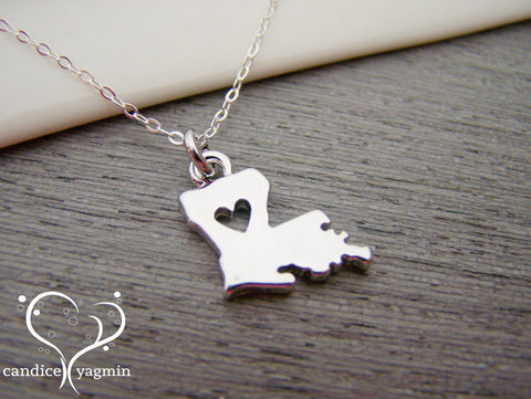 Louisiana State Heart Cut Out Charm Sterling Silver Necklace / Gift for Her - Louisiana Necklace - State Necklace - Geography Necklace