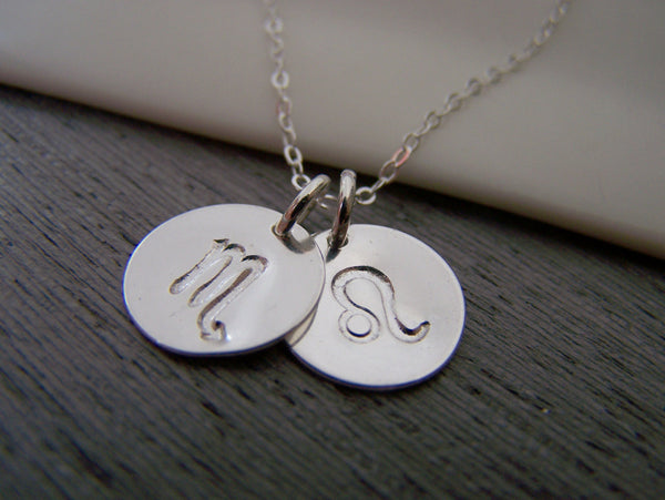 Two Disc - Two Signs - Astrology Necklace - Zodiac Sign Symbol Sterling Silver Necklace