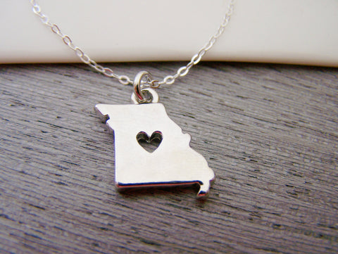 Missouri State Heart Cut Out Charm Sterling Silver Necklace / Gift for Her - Missouri Necklace - State Necklace - Geography Necklace