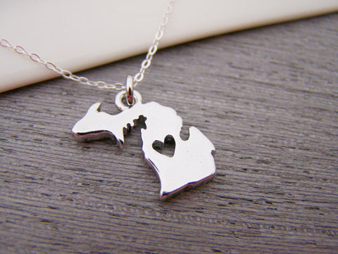 Michigan State Heart Cut Out Sterling Silver Necklace