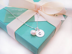 Simple Initial Necklace - Sterling Silver - Freshwater Pearl - Bridesmaid Gift