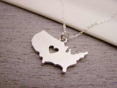 United States Country Heart Charm Sterling Silver Necklace