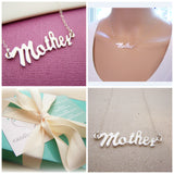 Mother Script Sterling Silver Necklace