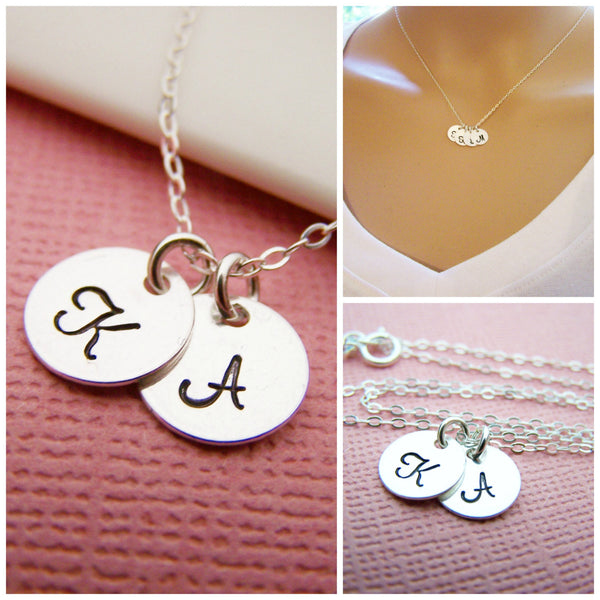 TWO Initial  - Tiny Sterling Silver Initial Disc Necklace