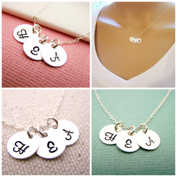THREE Initial Necklace - Tiny silver initial necklace - mothers necklace - grandma necklace - hand stamped initials - childrens initials