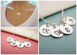 FOUR Initial Necklace - Tiny silver initial necklace