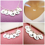 Tiny Initial Necklace - Hand Stamped Sterling Silver Initial Necklace