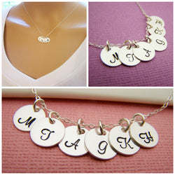 SIX Initial Necklace - Tiny silver initial necklace - mothers necklace - grandma necklace - hand stamped initials - childrens initials