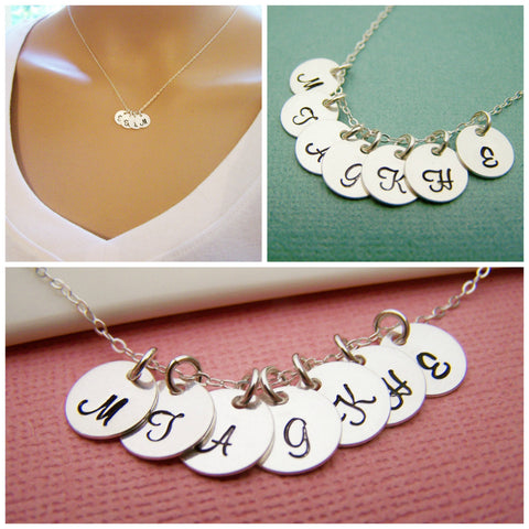 SEVEN Initial Disc Personalized Sterling Silver Necklace