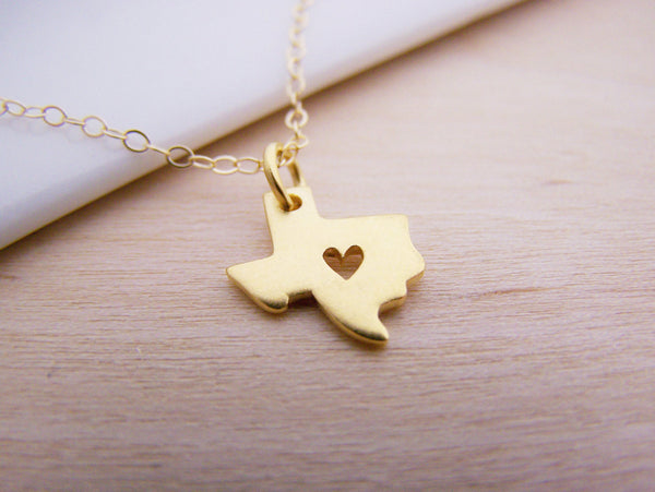 Tiny Heart Texas State 14k Gold Filled Necklace / Gift for Her - Texas Necklace - Geography Necklace - State Necklace - Tiny Texas Charm