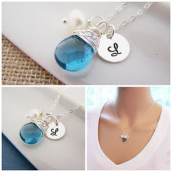 Personalized Blue Briolette Sterling Silver Necklace