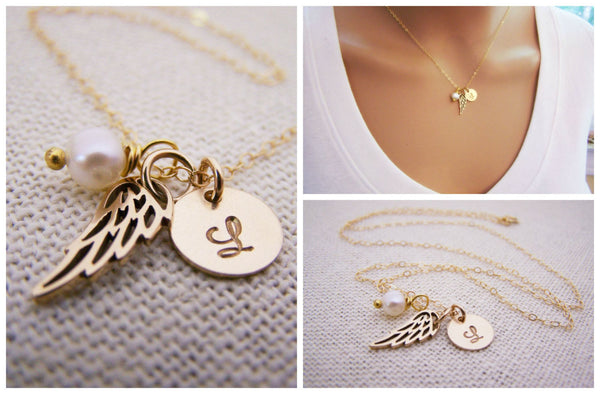Personalized Angel Wing Necklace - Memorial Necklace - Miscarriage Necklace