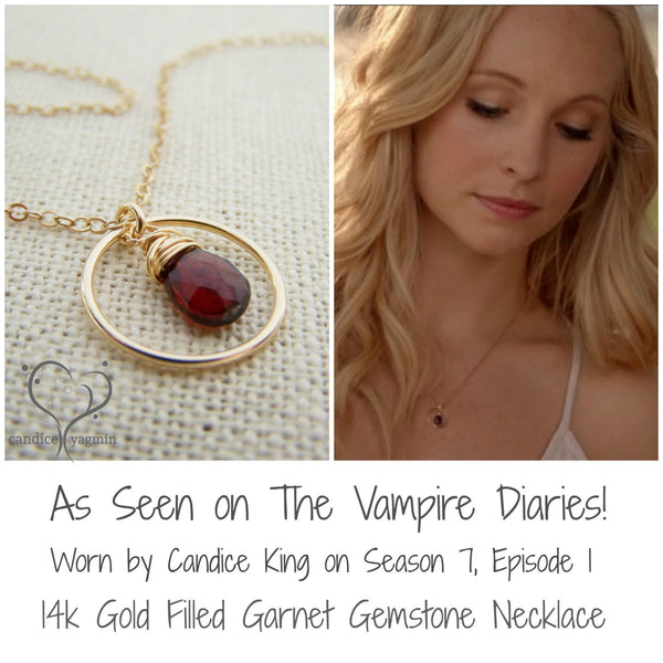 Vampire Diaries Necklace - Garnet Gemstone Wire Wrapped Briolette Teardrop Necklace