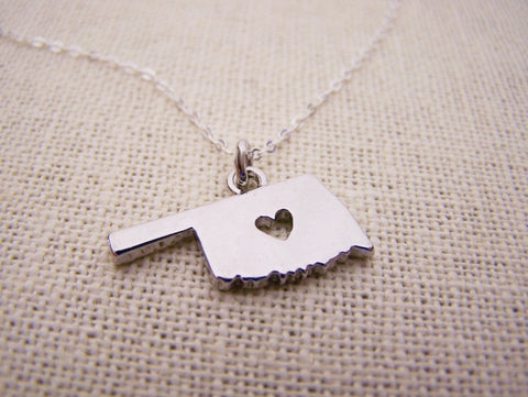 Oklahoma State Heart Cut Out Charm Sterling Silver Necklace / Gift for Her - Oklahoma Necklace - State Necklace - Geography Necklace