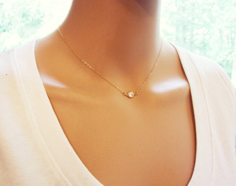 GOLD Tiny Diamond Necklace - 14k Gold Fill Dainty Choker Necklace