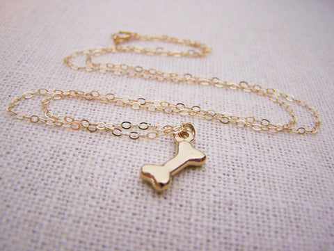 Gold Dog Bone Necklace - Simple Jewelry - Everyday Necklace / Gift for Her / Bone Necklace - Gold Filled Necklace