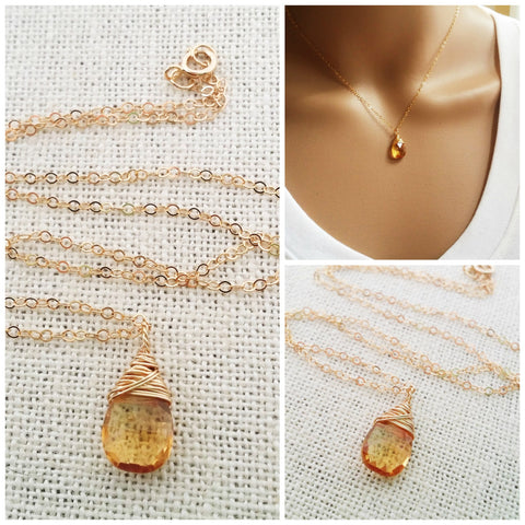 Citrine Gemstone Necklace - November Birthstone - Dainty Drop 14k Gold Fill Necklace