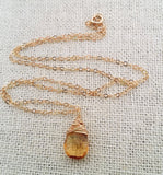 Citrine Gemstone November Birthstone 14k Gold Fill Necklace