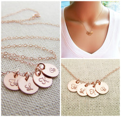 ROSE Gold Tiny Initial Disc Personalized Necklace