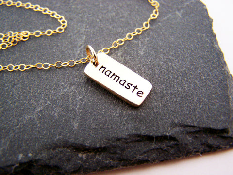 Namaste Yoga Necklace - 14k Gold Fill Necklace - Simple Jewelry - Dainty Necklace - Gold Fill Jewelry - Gift for Her